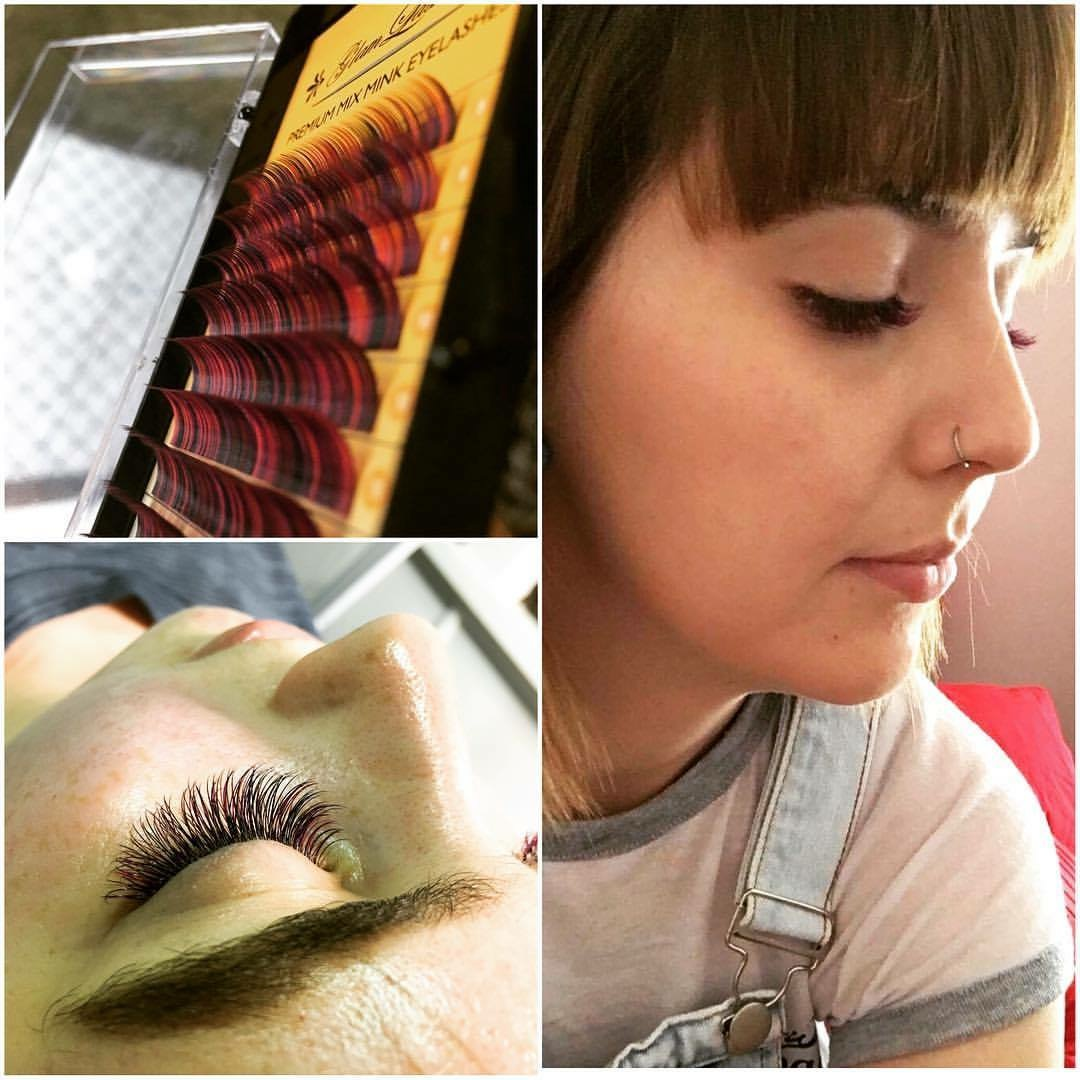 Collage of 3 images of lash extensions, woman and a close up of a face